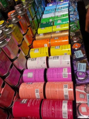 A colourful selection of tea tins at the Melbourne night market.
