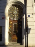 Door and a clock