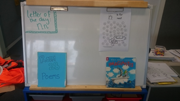 I keep our class poetry book, letter of the day sheets and a current reading book for the class here
